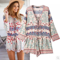Printed V-neck Long Sleeve Romper