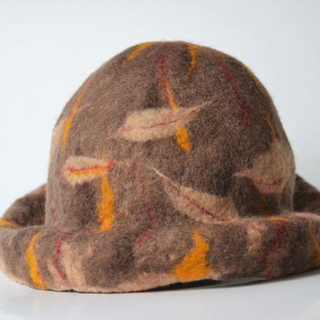 Warm and very original woolen hat in the colors of autumn, autumn or winter brown headpiecehand, felted wool, brown, felt cap, handmade