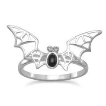 Black Onyx and Crystal Bat Ring