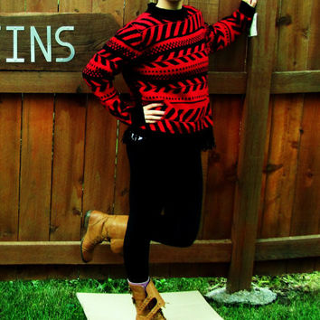 vintage Koret chevron fringe sweater. red and black chevron sweater. back to school. dead stock. NWT