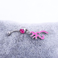 Silver Alloy Accessory Pink Belly Ring [6768787783]