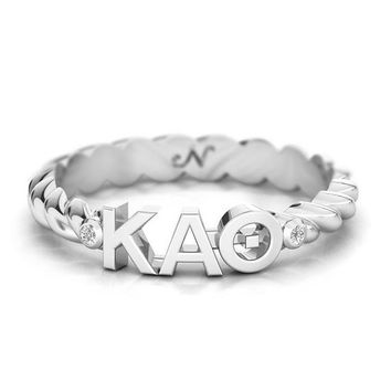 Kappa Alpha Theta Silver Pavé Twist Letter Ring, available in any sorority, other metals
