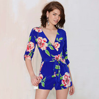 Navy Blue Floral V-neck Three-Quarter Sleeve Romper