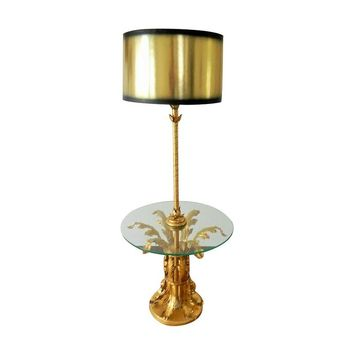 Pre-owned Vintage Italian Tole Floor Lamp Gold Gilt Florenti