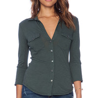 James Perse Contrast Panel Shirt in Dark Green