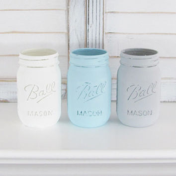 Painted Jars, Mason Jars, Rustic Decor, Shabby Chic, Distressed, Party Decor, Set of 3 Jars, Party Centerpiece, Country Decor, Baby Shower