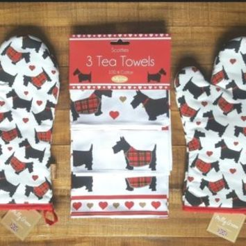 MILLY GREEN Scottie Dogs & Hearts Tea Towels & Oven Mitts Set Scottish Terriers