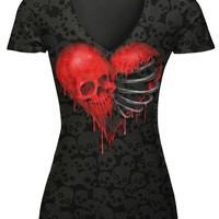 Casual V-Neck Skull Heart Printed Short Sleeve T-Shirt