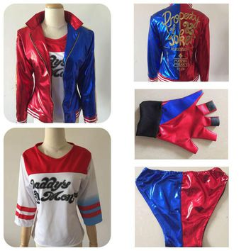 4 Pcs Suicide Squad Harley Quinn Costumes with Coat Shirt Shorts and Gloves For Woman Halloween Party Cosplay Size S-XXL