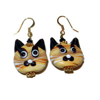 FREE SHIPPING Tan Cat Earrings, Lampwork Glass