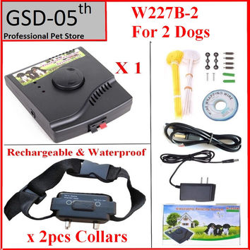 2dog Waterproof Rechargeable Pet Electric Dog fence Inground Shock Collar Electric Dog Pet Training Fence Fencing System Trainer