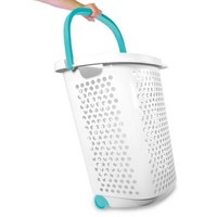 Home Logic 2.0-Bu. Rolling Hamper in White