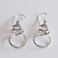 Women's Silver Alpaca Twist Dangle Statement Minimalist Earrings