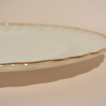 "10"" Dinner Plate Milk Glass - Anchor Hocking - Fire King Dinnerware - Gold trim rim"