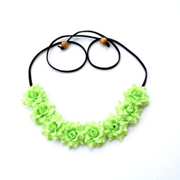 Light Green Flower Headband Rose Floral Crown Flower Halo Headpiece Hippie Headband Festival Wear Green Rose Bohemian Headpiece