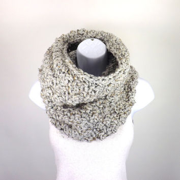 Chunky Cowl /GREY MARBLE/, Unisex Chunky Neck Warmer, Men Woman Chunky Cowl Scarf, Gift Idea