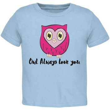 CREYCY8 Valentine's Day Owl Always Love You Funny Pun Toddler T Shirt