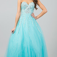 Floor Length Strapless Sweetheart Gown
