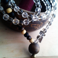 Japa Tibetan Buddhist Mala Rosary 41. Balance and good karma Japa Mala. Wood, Czech Crystal.