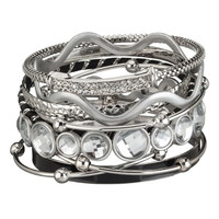 9 In 1 Mixed Metal Bangle Set - Black/Rhodium