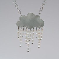 Angel Tears Rain Cloud Statement Necklace Sterling Silver Tiny White Freshwater Pearls Rain Chic Rom | Luulla