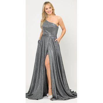 Silver/Black One-Shoulder Long Prom Dress with Pockets