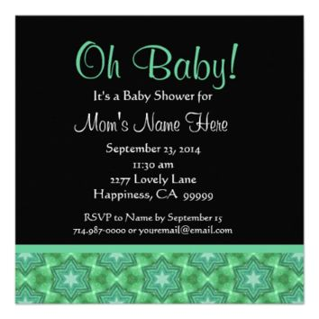 Cute Green Grunge Stars Baby Shower Personalized Invite