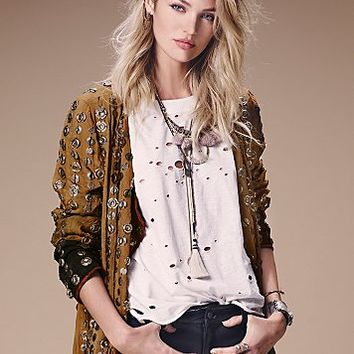 Free People Womens Destroyed Muscle Tee