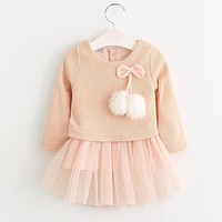 Children's Double Layer Sweater Dress