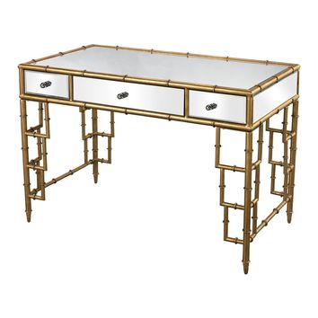 Mirrored Top Office Desk With Bamboo Frame In Gold Leaf