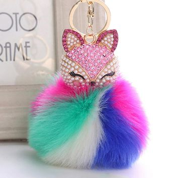 Colorful Pompom Rabbit Fur Keychain