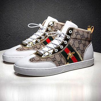 GUCCI Fashion Men Casual High Top Flats Stripe Bee Sport Shoes Sneakers 1#