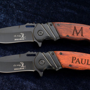 SIX - 6 - Personalized Knives - Great Gifts for Groomsmen! - Custom Engraved Wood And Black Stainless Steel