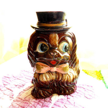 Vintage Dog Piggy Bank Pekingese Puppy Top Hat Pink Bow Japanese Chin Shih Tzu MCM Pottery Kitsch Retro Brown Big Eyes Mr. Bojangles