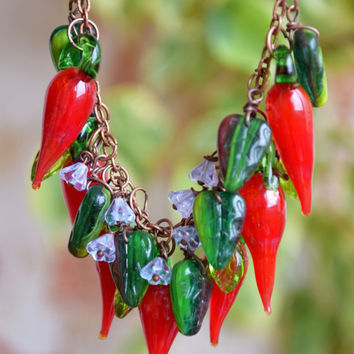 Glass Chili Pepper necklace-peppers jewelry-boho necklace-hot chilli pepper glass beads-glass necklace-Harvest necklace-red-green-charm