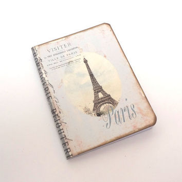 Mini Paris Travel Journal, Paris Notebook, Shabby Chic, Eiffel Tower, Pocket Moleskine, Paris Party Favor, Pale Blue Stripes, French Journal
