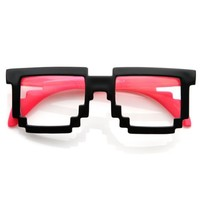 zeroUV - Futuristic Novelty Nerd Geek Gamer Colorful 2-Tone Clear Lens Pixel Glasses