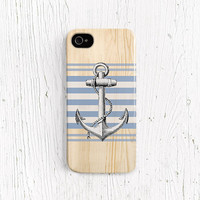 Anchor iPhone 5 case Nautical blue stripe iPhone 4 case wood iPhone 5 case Summer iPhone 4 case bon voyage Best iPhone case /c153