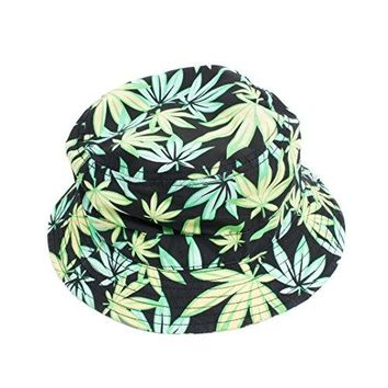 Green Leaf Weed Print Marijuana Cannabis Bucket Fisherman Hat Cap (Green/Black)