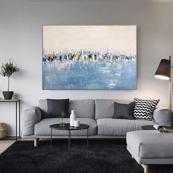 Modern art abstract paintings on canvas Original sky blue acrylic heavy texture huge size Wall Pictures hand painted Home caudros quadro