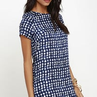 Shift and Shout Blue Print Dress
