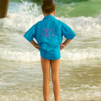 Youth Monogrammed Fishing Shirt Short Sleeve youth sizes Beach cover up
