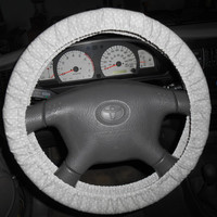 Polka dot Steering Wheel Cover. Gray with White Dots. Car Decor.Fabric Cover. Vehicale Accessory