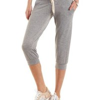 Lt Gray Combo Lace-Up Cropped Sweatpants by Charlotte Russe