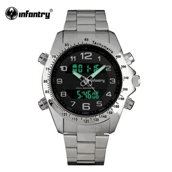 INFANTRY Mens Watches LCD Digital Quartz Aviator Watches Top Brand Silver Full Steel Watches Male Clock Relogio Masculino 2017
