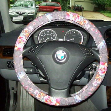 Grey Floral Steering Wheel Cover