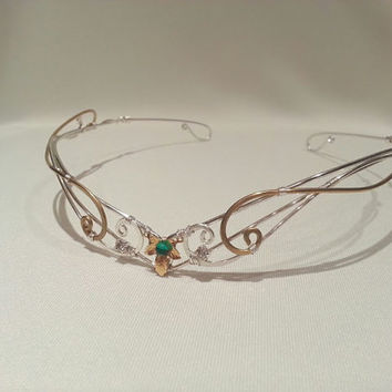 Silver and gold Ivy leaf medieval circlet tiara hobbit crown green gem lotr Elven headpiece