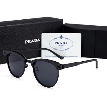 Prada Popular Women Simple Summer Sun Shades Eyeglasses Glasses Sunglasses Black/Black I12602-1