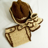 Western Hat and Boots Set-3 Pc.-Baby Cowboy Gift Set--Baby Shower Gift