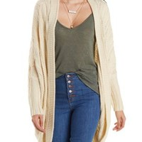 Ivory Cable Knit Cocoon Cardigan Sweater by Charlotte Russe